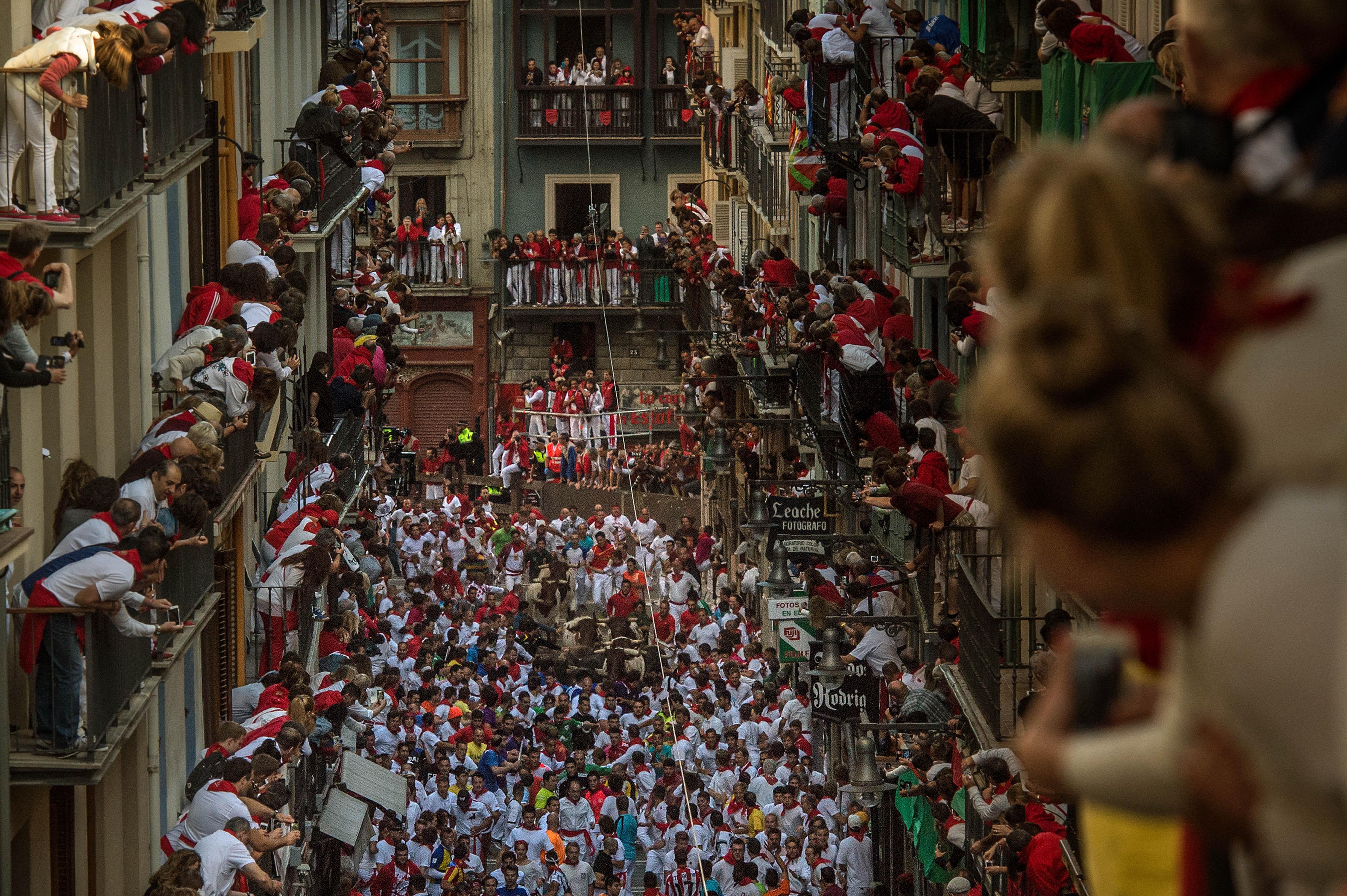 BILLEDER Modige mænd løber fra hidsige tyre i Pamplona | Nyheder | DR