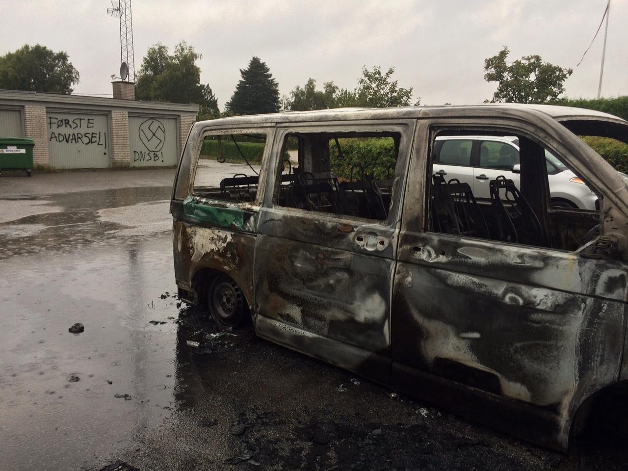 brændt bil  asylcenter lyngbygaard