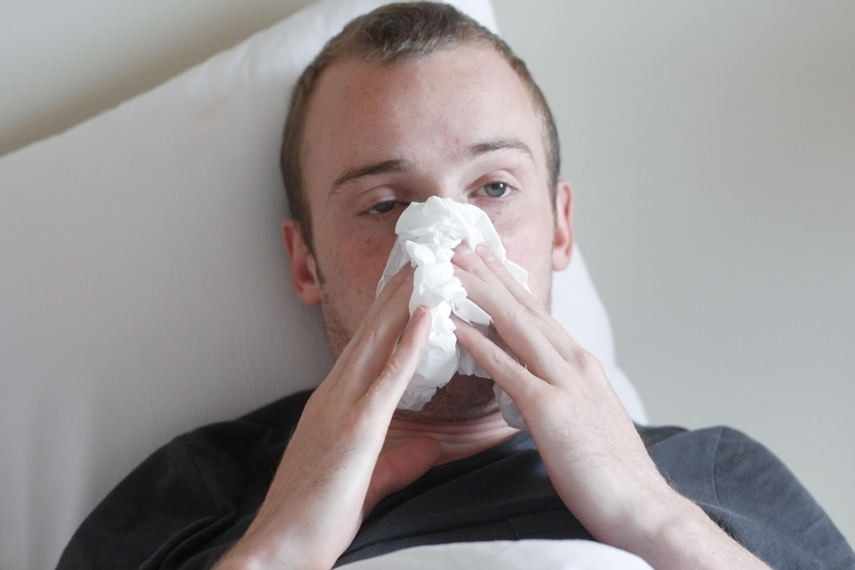 Influenza - forkølet mand