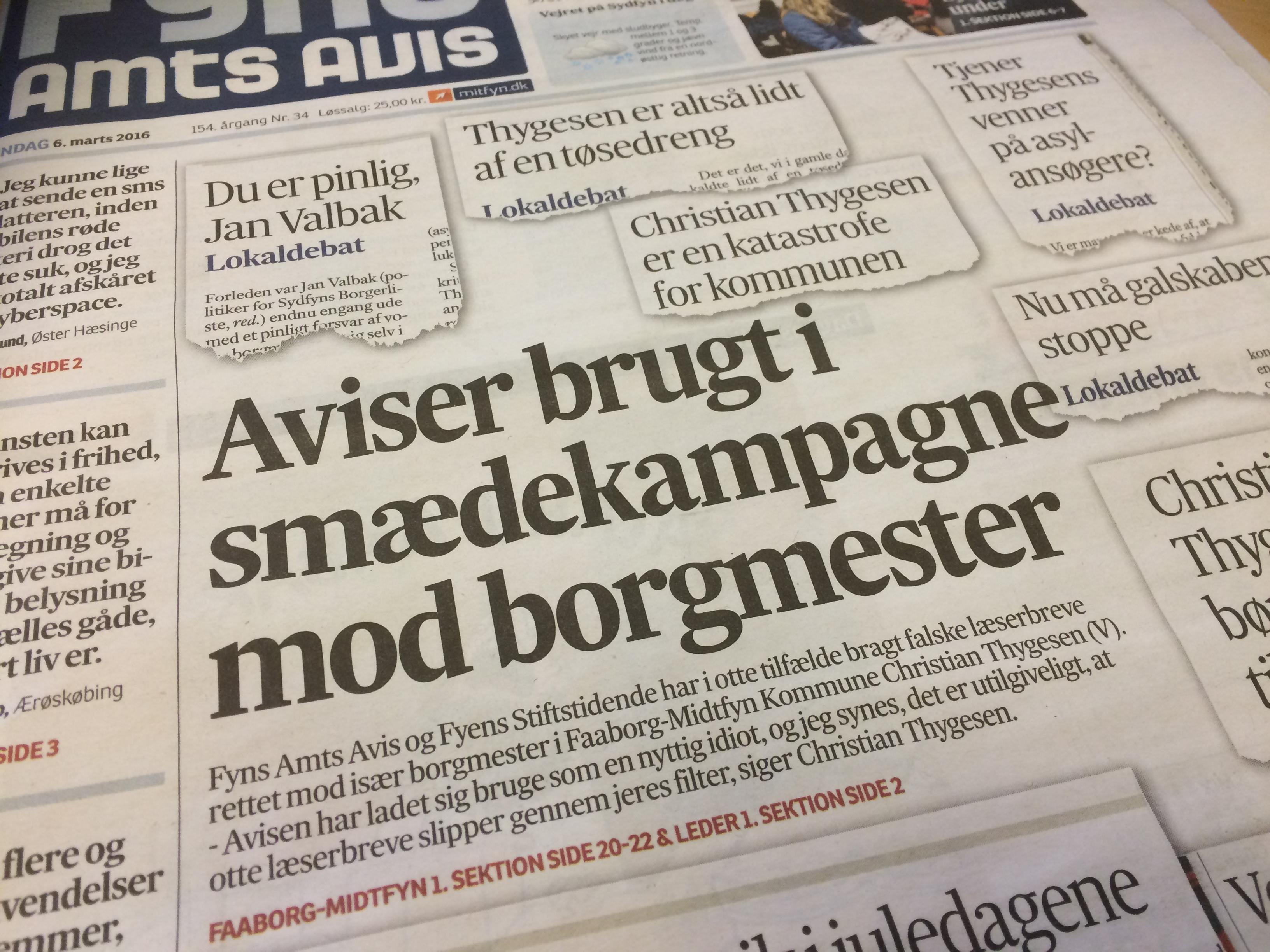 Otte falske læserbreve i fynske aviser