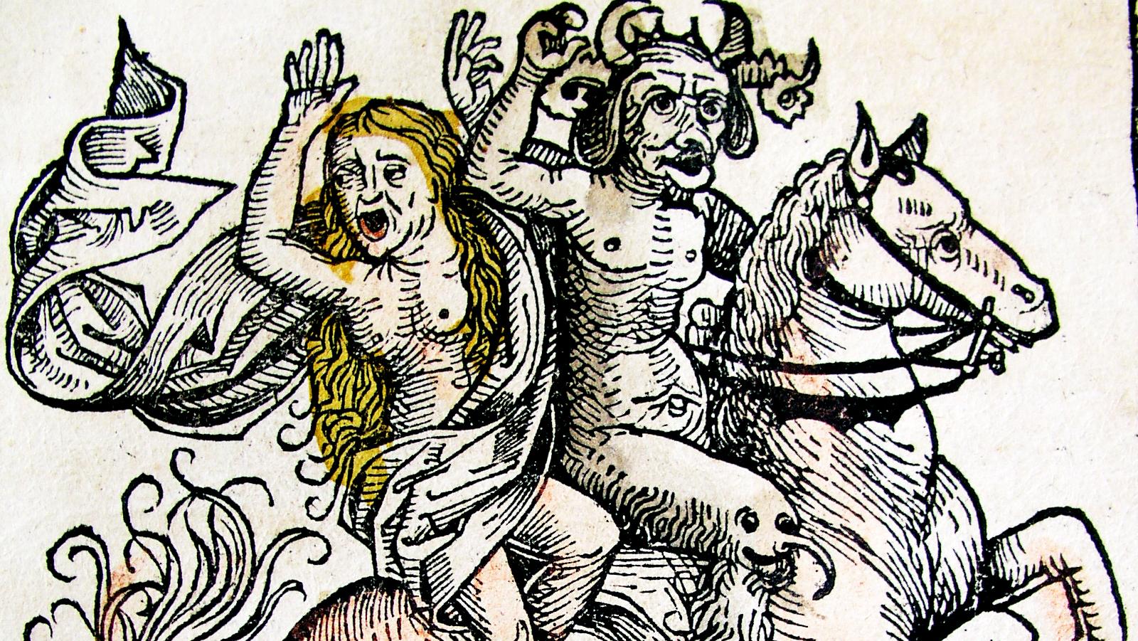 Heks og djævel på hesteryg. Nuremberg Chronicle af Hartmann Schedel (1440-1514)