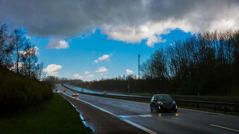 Omskiftelige april - motorvej