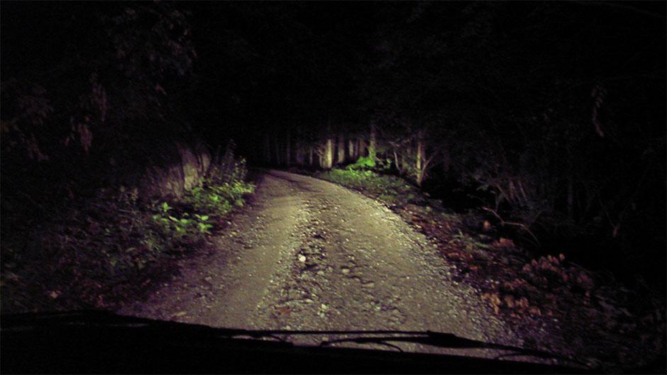Mørke - forrude - bil - grusvej