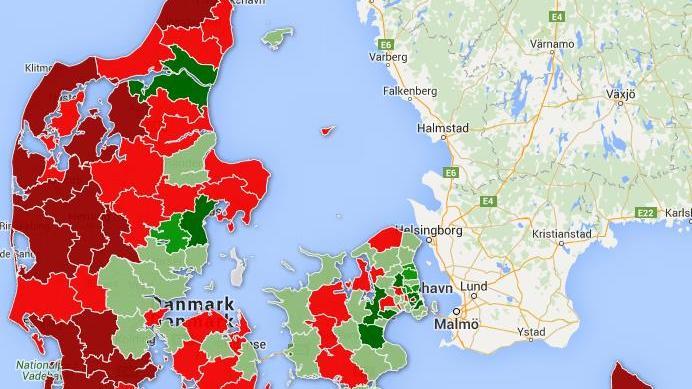 Danmarkskort - Danskernes flytning