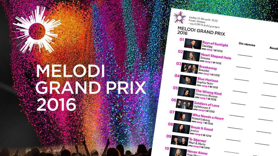 Stemmeseddel Melodi Grand Prix 2016