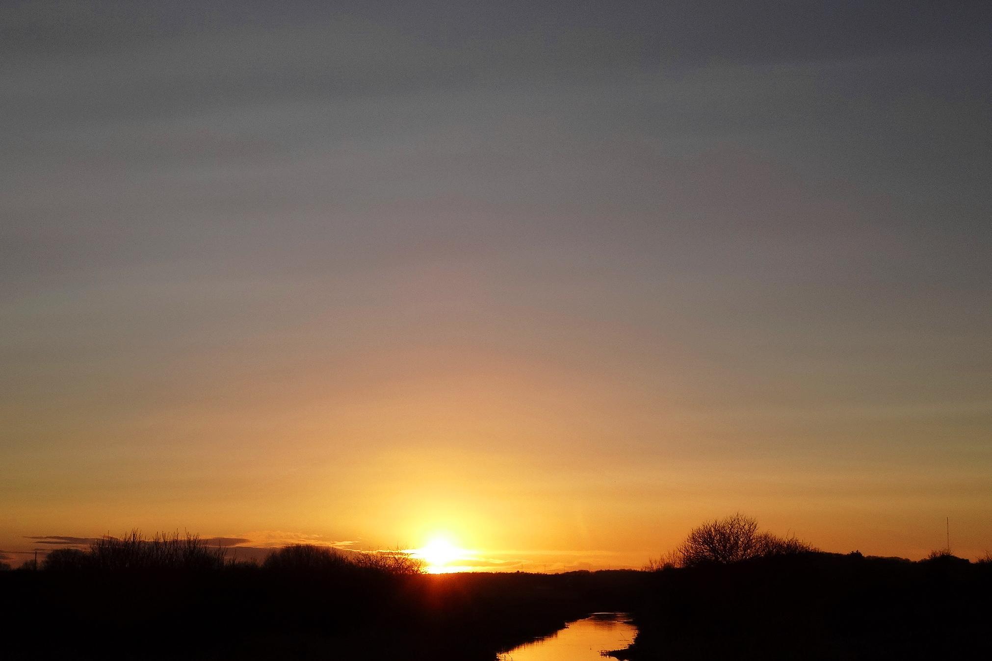 Solnedgang ved Aalborg feb. 2016