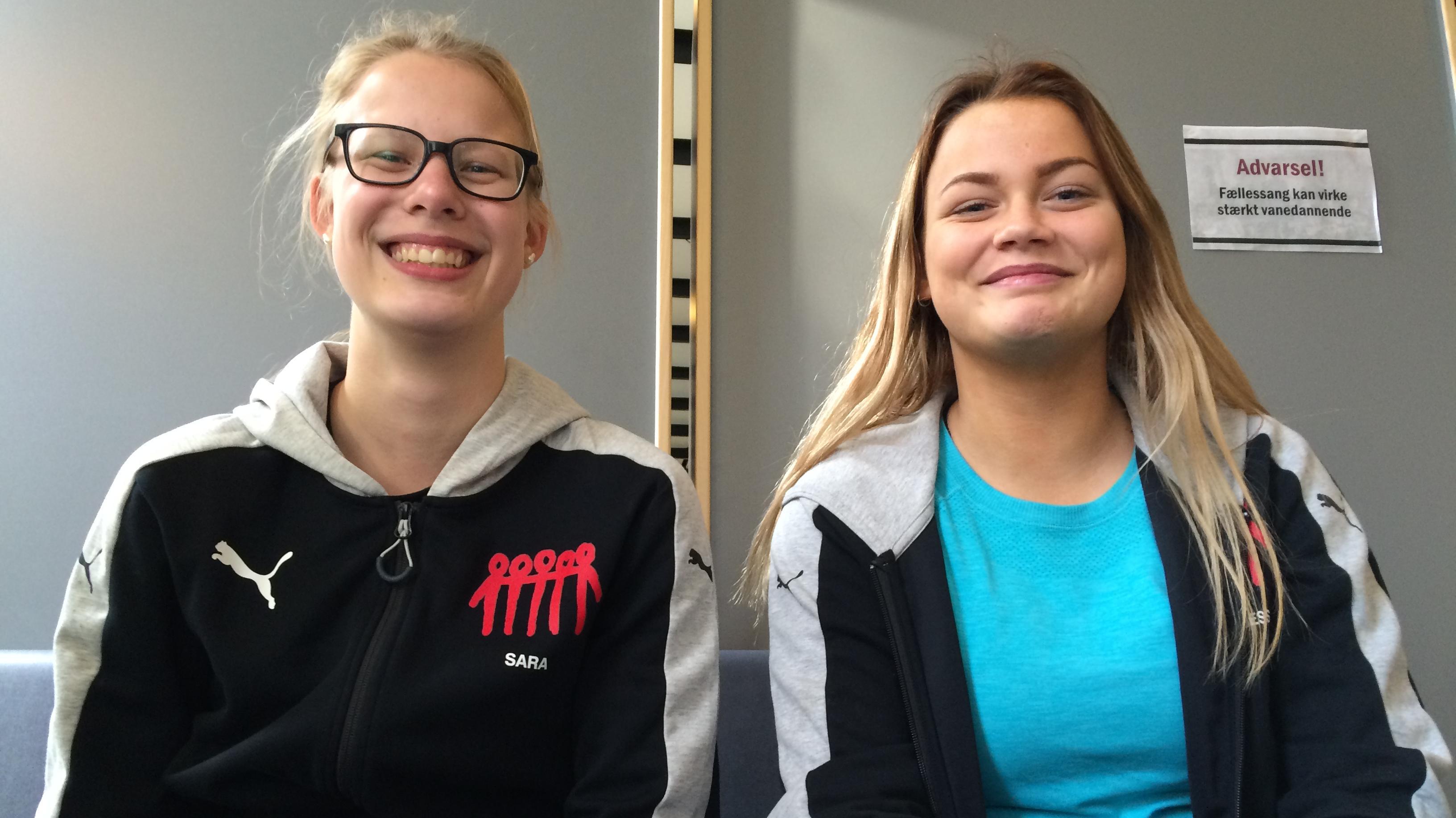 Marie Louise Jessen og Sarah Jochumsen, elever på Ladelund Efterskole
