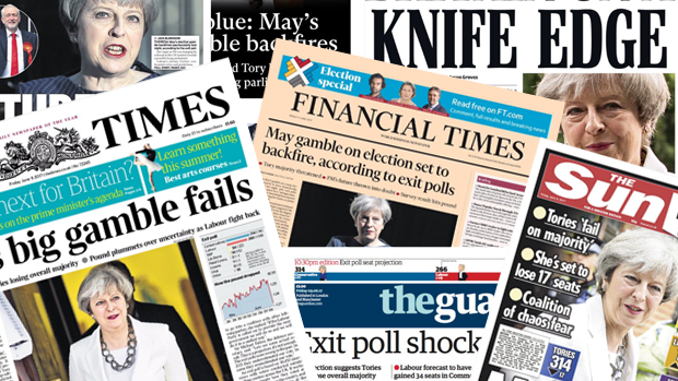 Britiske forsider: Mays sats giver bagslag