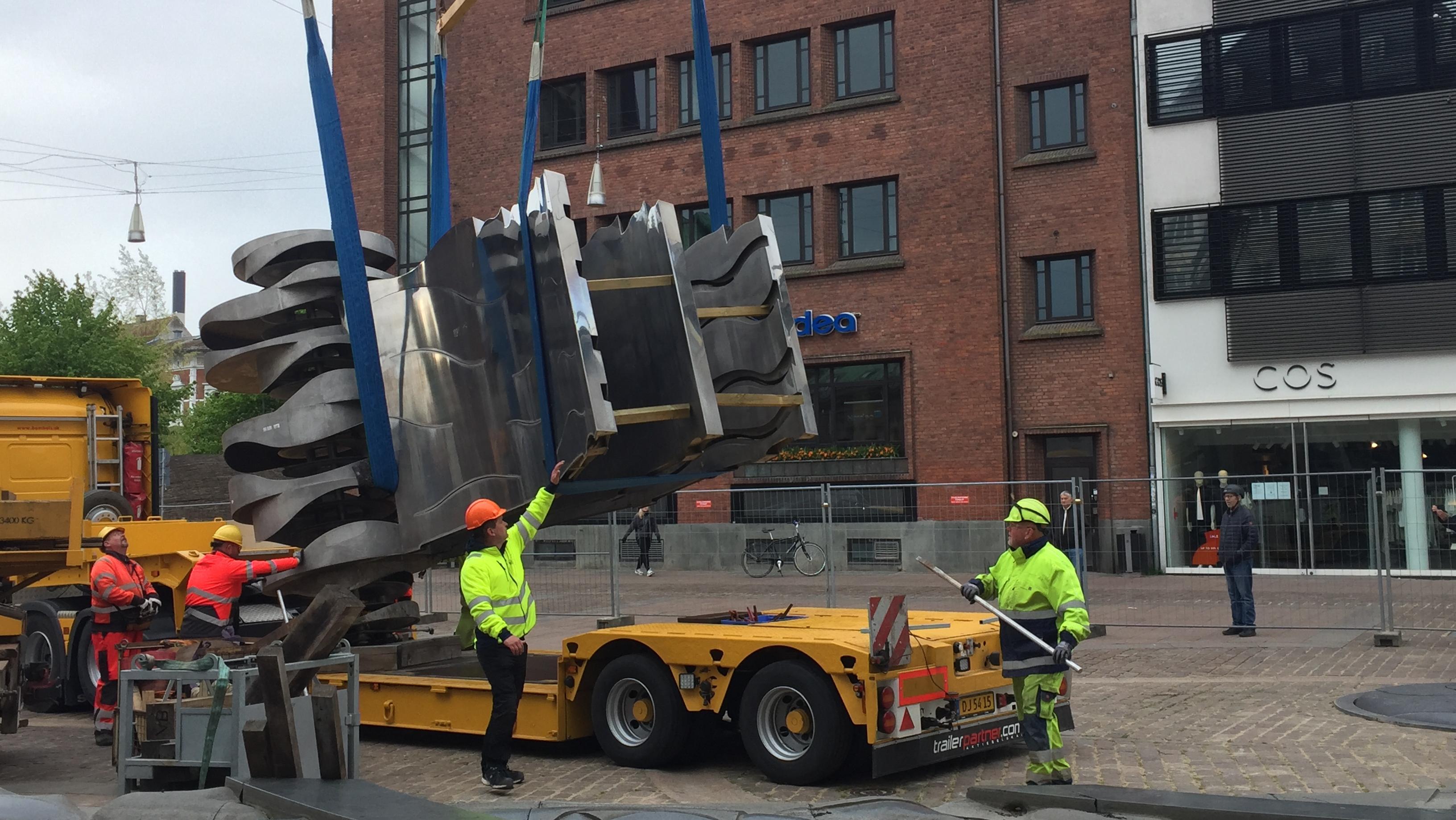 Vanddragen flyttes fra Store Torv i Aarhus