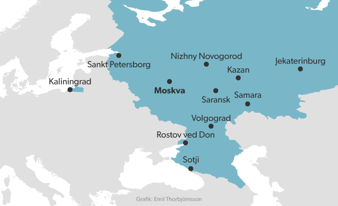 Kort VM-byer Rusland 2018