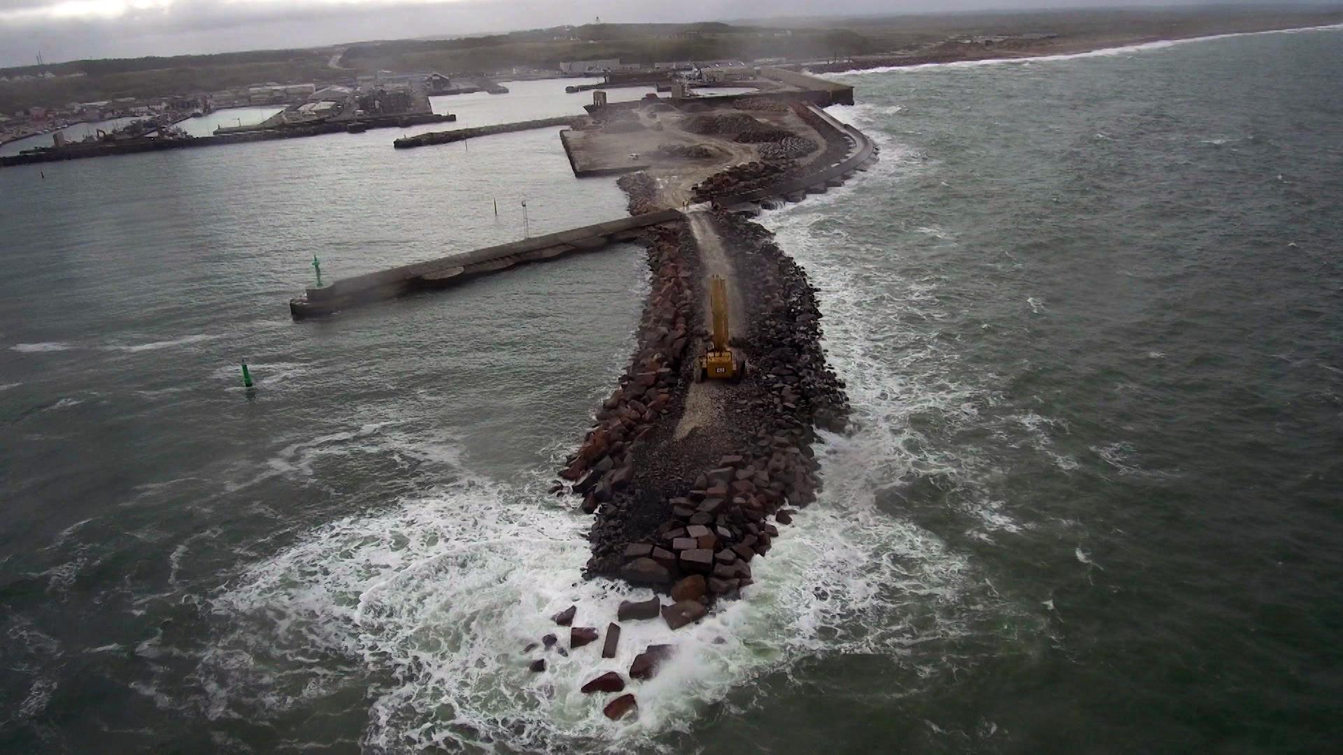 Hanstholm Havn - udvidelsen set fra luften