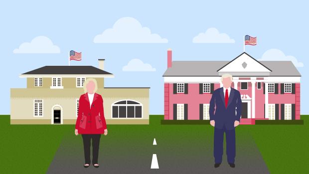 Scroll gennem dobbeltportrættet af de to præsidentkandidater