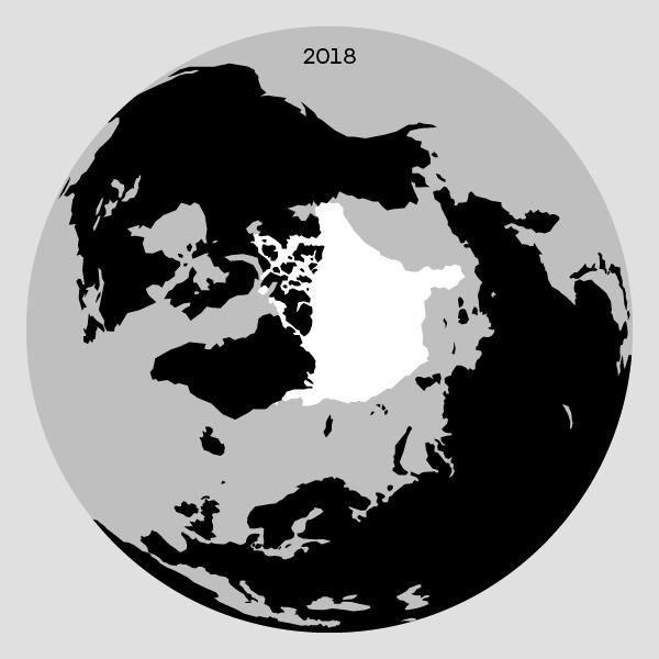 Grafik af den isen på arktis i 2018
